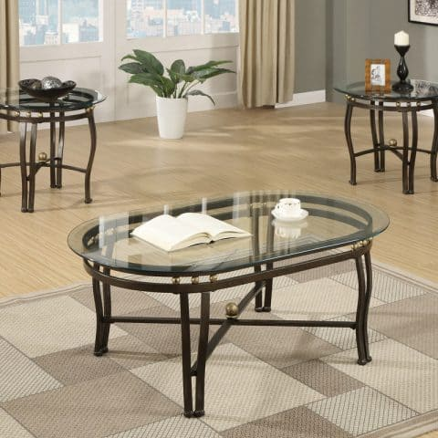 3 Piece Coffee Table Set Bronze
