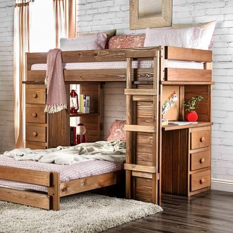 Mahogany Twin Over Twin Loft Bunk Bed With Desk & Storage