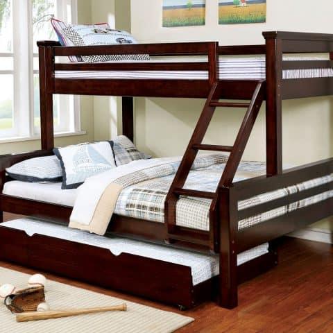 XL Twin Over Queen Bunk Bed Dark Walnut