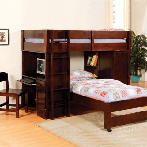 Twin Loft Bunk Bed With Stairs & desk