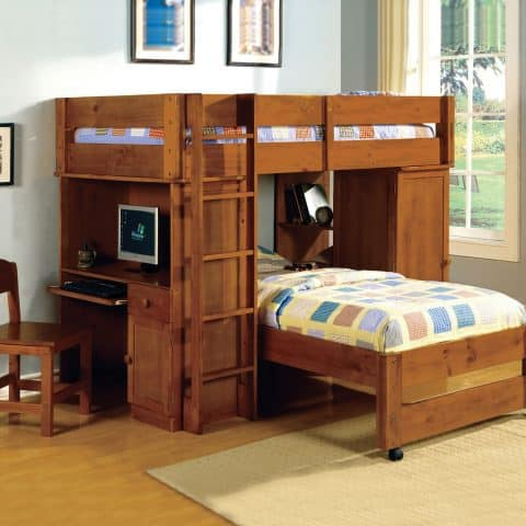 Twin Over Twin Loft Bunk Bed With desk