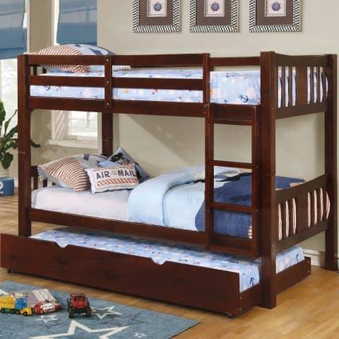 Twin Over Twin Bunk Bed Dark Walnut