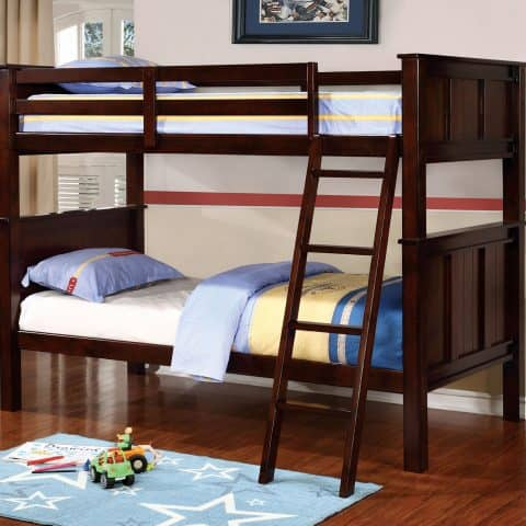 Dark Walnut Twin Over Twin Bunk Bed