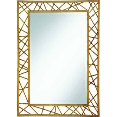 Wall Mirror Rectangular Mirror Geometric Gold Frame