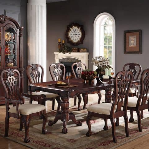 9-Piece Formal Dining Room Set In Cherry Wood Finish