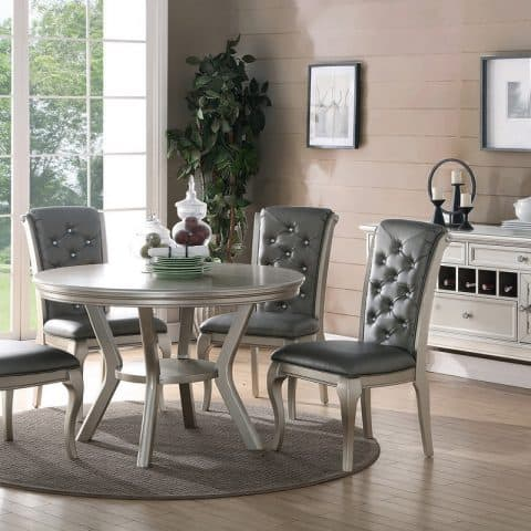 5 Piece Round Silver Formal Dining Room Set