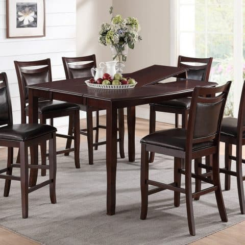 7 Pcs Counter Height Dining Set With Leaf