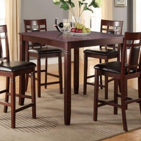 5 Piece Counter Height Casual Dining Set Cherry Finish