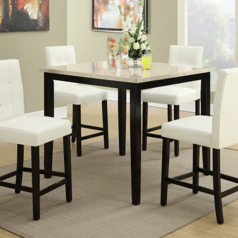 5 Pcs Counter Height Dining Table Set White Chairs