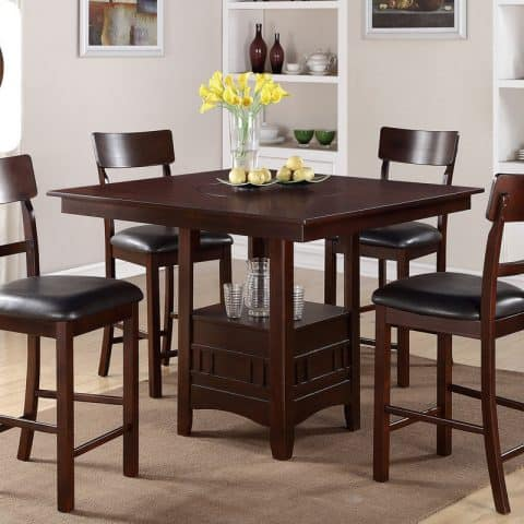 Counter Height Dining Set Built-In Lazy Susan