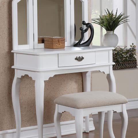 Vanity White With Three Folding Mirrors