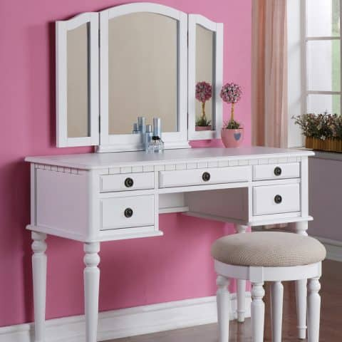 Vanity White Wood Finished Colors