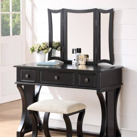 Black Vanity With Mirror Drawers Stool