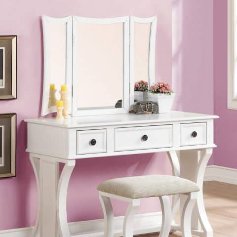 3 Panel Mirror Vanity White Finish