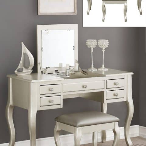 Silver Vanity With Flip Down Mirror