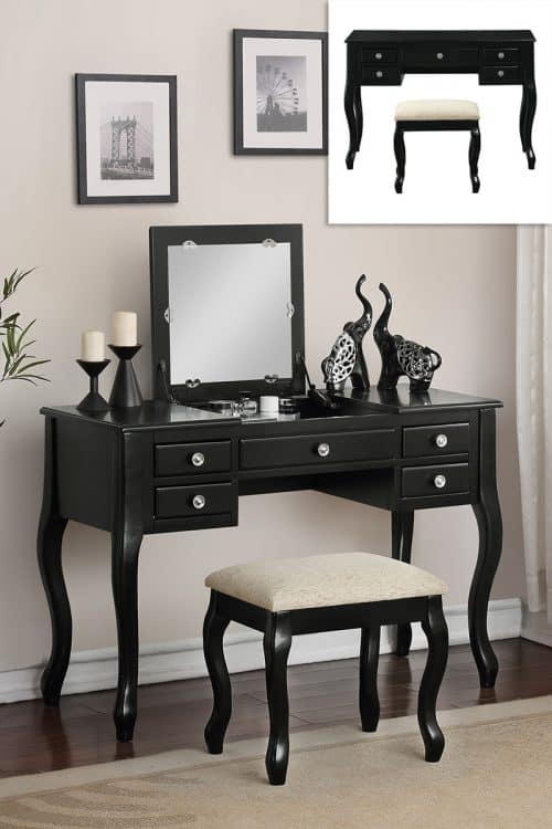 Vanity Black Mirror Opens To Center Storage