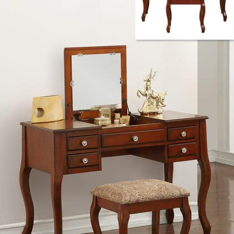 Vanity Cherry Flip Top Mirror Makeup Table