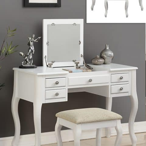 White Vanity With Flip Top Mirror & Stool