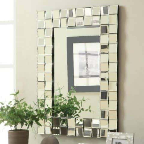 Wall Mirror Contemporary Rectangular Silver Finish