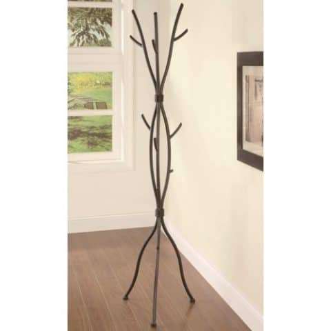 brown metal contemporary design coat rack