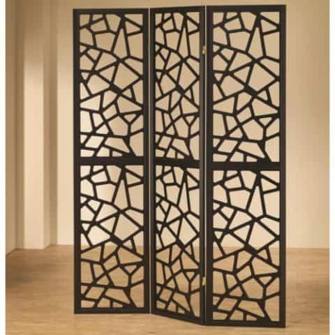 Three Panel Folding Screen Intricate Mosaic Cuts Black Finish