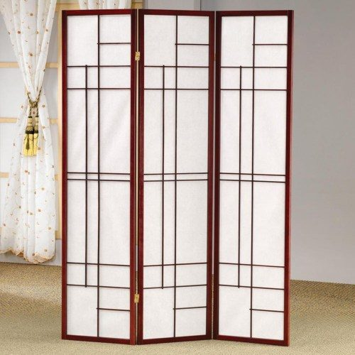 White Panel Screen Mahogany Wood Frame