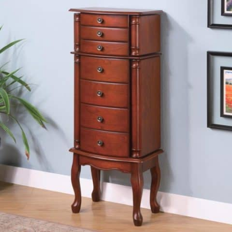 Jewelry Armoire Warm Brown Finish