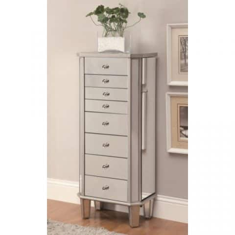 Jewelry Armoire Silver Finish