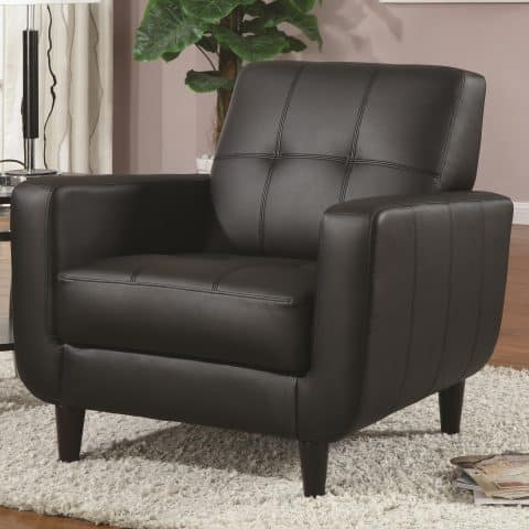 Accent Seating Black Accent Chair With Round Wood Legs