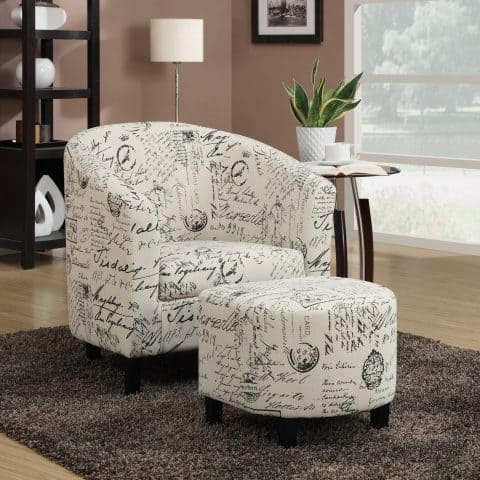 Accent Chair With Ottoman Set in French Script Pattern