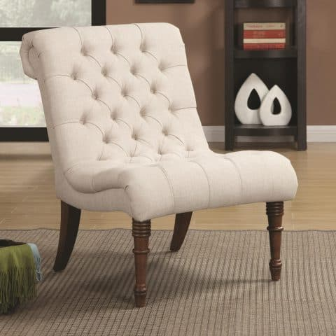 Traditional Accent Chair Curved Rolled Back Button Tufting
